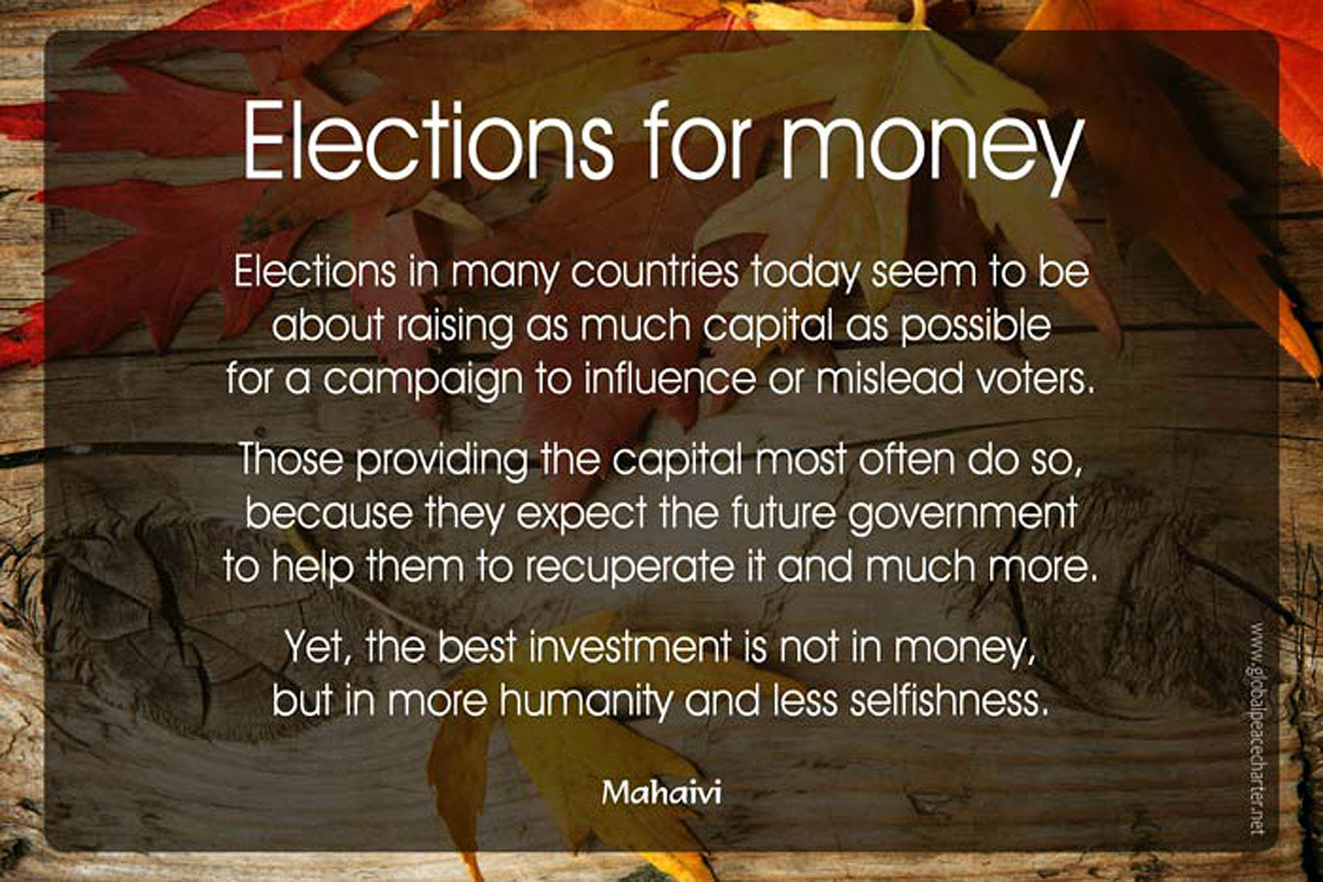 Elections for money